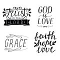 Set of 4 Hand lettering christian quotes God is love. Faith, hope, love. Grace. Trust in the Lord.