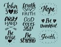 Set of 9 Hand lettering christian quotes God loves you. John3 16. Hope. Pray hard. Walk by faith. Be wise, thankful