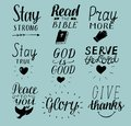 Set of 9 Hand lettering christian quotes Stay strong. Peace to you. Pray more. Read the bible. God is good. Serve Lord. Give thank