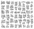 Set of 50 hand lettering inscriptions about healthy life