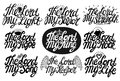 Set of 9 hand lettering quotes The Lord is my Savior, King, Light, Song, Hope, Savior, Streght, Rock, Life, Keeper.
