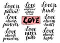 Set of 8 hand lettering quotes about love from Corinthians Royalty Free Stock Photo