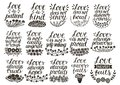 Set of 15 hand lettering quotes about love from Corinthians . Royalty Free Stock Photo