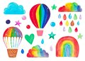 Set of hand-painted children`s clipart. Watercolor illustration rainbow balloon airship cloud decorative elements