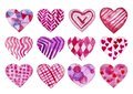 Set of hand painted watercolor hearts. Isolated objects perfect for Valentine`s day card or romantic post cards
