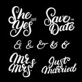Set of hand written lettering wedding quotes.