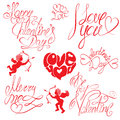 Set of hand written text happy valentine s day i love you merry me etc calligraphy elements for holidays or wedding design in Stock Photo