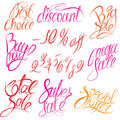 Set of hand written words Buy now!, Best choice, d Stock Image