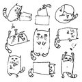 Set of handdrawn cute cats in various poses