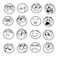 Set of handmade emoticons, emotion, feelings, experience for icons Royalty Free Stock Photo