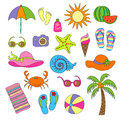 Set of handmade symbols and icons summer and vacation on the beach Royalty Free Stock Photo