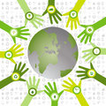 Set of hands with bio icons waiving to green environmental world in a circle pattern and filled a and sustainable Stock Photo