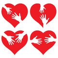 Set of Hands on heart, abstract  illustration for Royalty Free Stock Photos