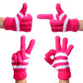 Set of Hands in Knitted Gloves isolated on white. Thumb Up, Pointing, Victory, Ok Sign