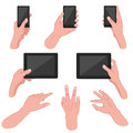 Set of hands using mobile devices vector illustration mans hand smart phone tablet Royalty Free Stock Image