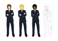 Set Handsome Business Man Arm Folded with Confident. Full Body Vector Illustration.