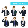 Set Handsome Business Man Cartoon Character. Vector Illustration.