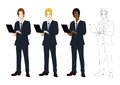 Set Handsome Business Man with Laptop. Full Body Vector Illustration