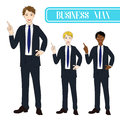 Set Handsome Business Man Pointing Up. Full Body Vector Illustration.
