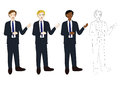 Set Handsome Business Man Presentation with Hand Pointing. Full Body Vector Illustration