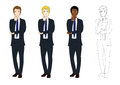 Set Handsome Business Man Thinking to Make Decision. Full Body Vector Illustration. Royalty Free Stock Photo