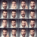 Set of handsome emotional man over dark background Royalty Free Stock Images