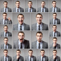 Set of handsome emotional man over dark background business Stock Images