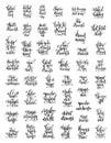 Set of 50 handwritten lettering positive magic dreams quotes