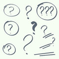 Set of handwritten question marks hand drawn ovals help symbol faq sign on background vector Stock Photos