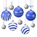 Set hanging blue and silver Christmas balls. Decorative baubles elements isolated on white background for holiday design. Vector Royalty Free Stock Photo