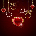 Set of hanging hearts seamless valentines background with red illustration Stock Photos