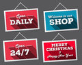 Set of hanging signs open welcome merry christmas Stock Photo