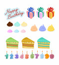 Set happy birthday cake candles figures vector illustration Stock Photos