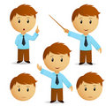Set of happy cartoon businessman for presentation Stock Images