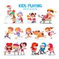 Set Of Happy Cartoon Kids Play...