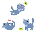 Set of happy cats isolated on white cartoon illustration Stock Photo
