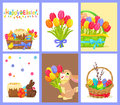 Set of Happy Easter with Flowers and Sweet Dessert Royalty Free Stock Photo