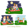Set of Happy family picnic resting. Young couple outdoors. Summer family picnic. Vector Illustration.