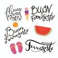 Set of Happy Ferragosto quotes in Italian Royalty Free Stock Photo