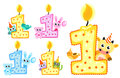 Set Happy First Birthday Candle and Animals Isolated on white background. Vector illustration