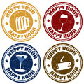 Set of happy hour stamps grunge rubber vector illustration Stock Photography
