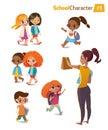 Set of happy joyful cartoon kids in motion and woman. Vector illustration. .