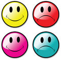 A Set Of Happy and Unhappy Smiley Face Buttons