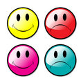 A Set Of Happy and Unhappy Smiley Faces Royalty Free Stock Photos