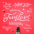 Set of happy valentine s day hand lettering vector eps image Royalty Free Stock Photos