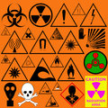 Set of hazard symbols. Biological, radiation, chemical and other