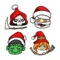 set of head halloween characters wearing santa hat. vector illustration Royalty Free Stock Photo