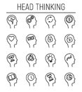 Set of head thinking icons in modern thin line style