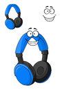 Set of headphones or earphones blue with happy smile in cartoon style isolated on white Royalty Free Stock Images
