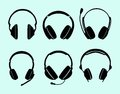 Set of headphones this image is a coloured vector illustration a six and can be scaled to any size without loss resolution Royalty Free Stock Photography